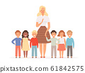 Teacher with kids. Group of young pupils standing in school with their young teacher vector education concept 61842575