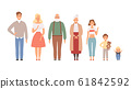 Big family portrait. Father mother daughter brother sister boys girls grandparent baby vector lifestyle characters 61842592