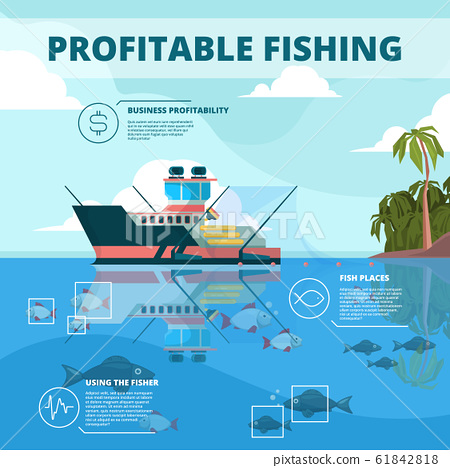 Fishing boats background. Ocean water fisher ship vector infographic picture 61842818