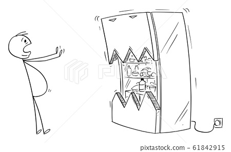 Vector Cartoon Illustration of Fat or Obese or Overweight Man Scared by His Fridge 61842915