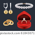 Wedding rings. Gold trappings in decoration red packs glossy jewelry vector realistic set 61843071