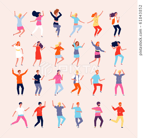 Dancing people. Happy characters male and female dancers vector flat pictures 61843852