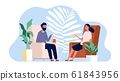 Couple talking. Family home time. Man and woman sitting on armchairs with drinks vector illustration 61843956