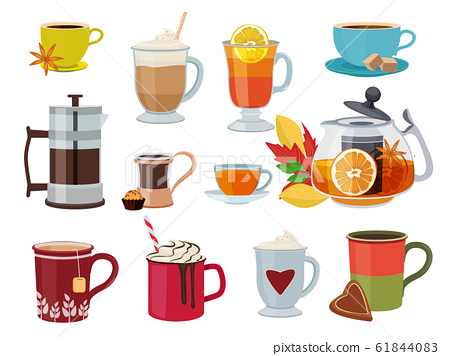 Warm drinks. Hot breakfast liquid products tea coffee with milk mulled wine vector pictures set 61844083