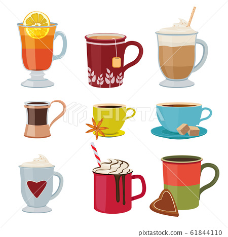Hot drinks. Warm mugs tea coffee cocoa mulled wine vector collection cartoon pictures 61844110
