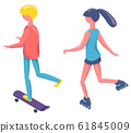 Skateboarder and Roller, People Activity Vector 61845009