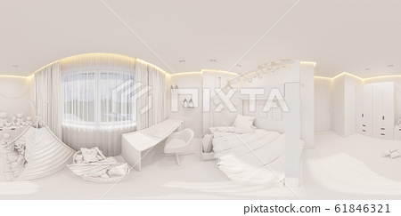 Virtual reality, 360 degrees seamless panorama. Girl playroom and bedroom in the Scandinavian style 61846321