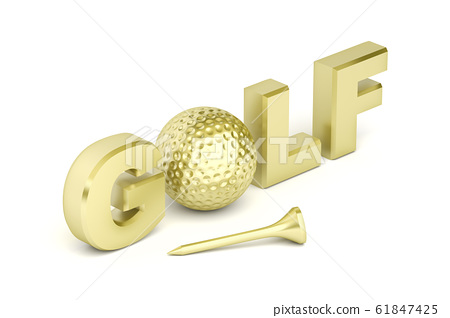 Text golf with golden ball and tee. 61847425