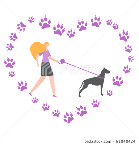 Vector People walk with dog Canine tracks active 61848424