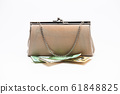 Korean traditional wallet with cash on a white 61848825