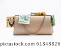 Korean traditional wallet with cash on a white 61848826