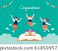 三名穿著校服的學生跳上書本和學校入學 61850957