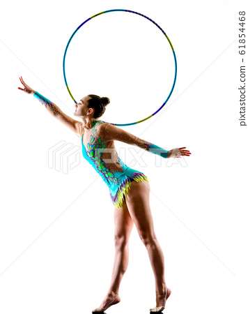 woman gymnast rhythm gymnastic isolated white background silhouette 61854468