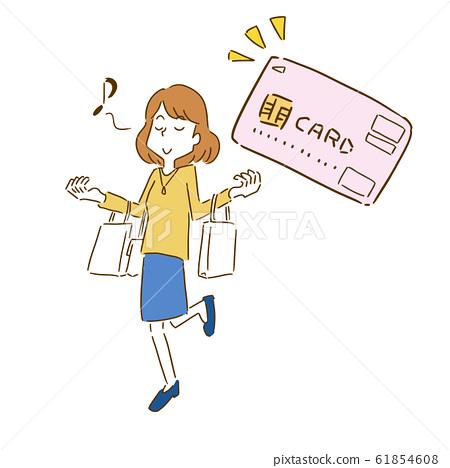Shopping shopping women credit card handwriting style 61854608