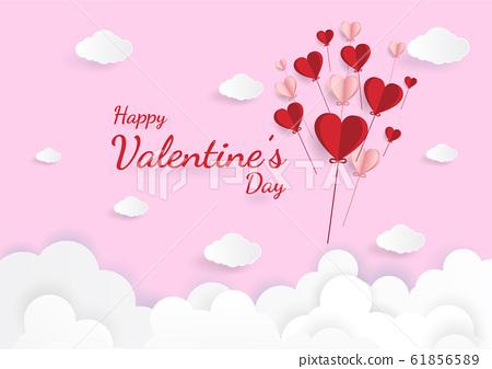 Paper art of illustration love and valentine 61856589