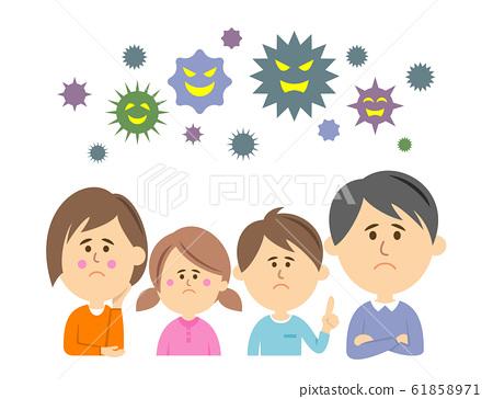 바이러스 나 병균에 고민하는 가족의 일러스트 61858971