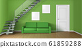 Empty living room with sofa, staircase and door 61859288