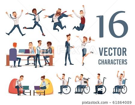Happy Businesspeople Flat Vector Characters Set 61864089