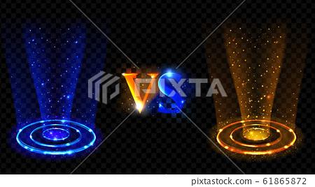 Hologram effect vs circles. Neon versus round rays 61865872