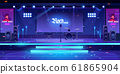 Stage with rock music instruments and equipment 61865904