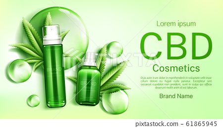 Cbd cosmetics bottles with bubbles and leaves 61865945