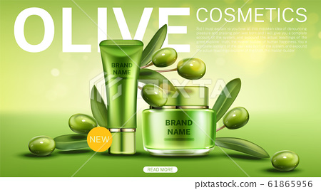 Olive cosmetics tube and cream jar landing page 61865956