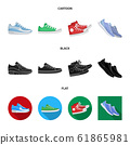 Vector illustration of shoe and sport logo. Collection of shoe and fitness stock symbol for web. 61865981