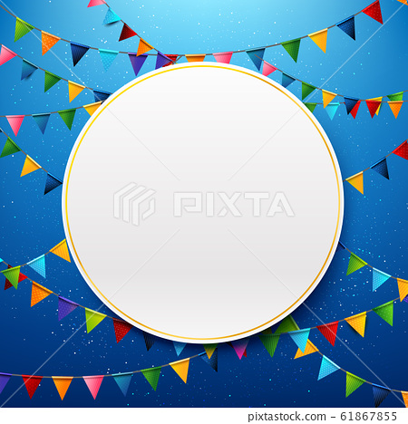 Blank circle with rainbow colorful celebration 61867855