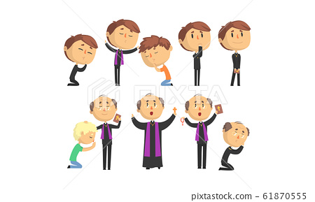 Man Priests Characters Collection, Catholic Preachers Blessing, Praying, Giving Speech Vector Illustration 61870555