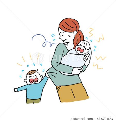 單人操作的女人,為人父母,育兒,神經症,插圖,產後抑鬱 61871073