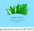 Background with tropical leaves on blue backdrop. Vector 61872042