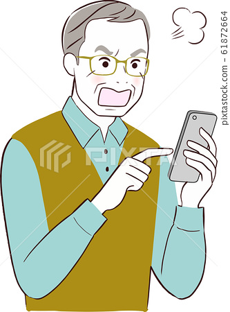 Grandfather, smartphone, get angry 61872664