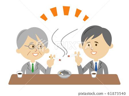 一個吸煙朋友在吸煙室中的插圖圖像 61873540