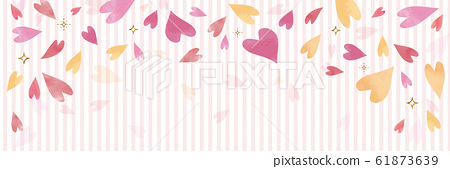 Pink watercolor heart pattern and stripe background material (horizontal banner header) 61873639