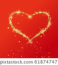 Heart of flying particles of gold 61874747