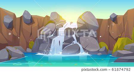 cartoon waterfall and rocks 61874792