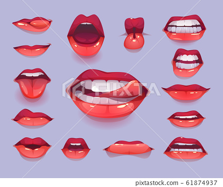 Woman mouth set. Red sexy lips expressing emotions 61874937