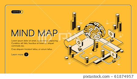 Mind map visual thinking tool isometric landing 61874957