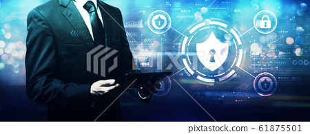 Cyber security theme with businessman 61875501