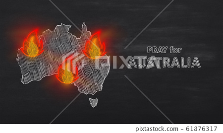 Supportive illustration with burning continent on black 61876317