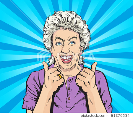 Happy old woman And satisfied, thumbs up. Pop art vector illustration drawing. Comic book work style. 61876554