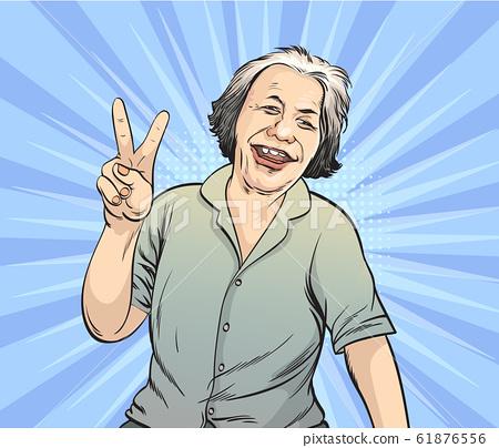 Old women show happy gestures.Pop art retro vector illustration vintage kitsch drawing,Comic Book Work Style 61876556