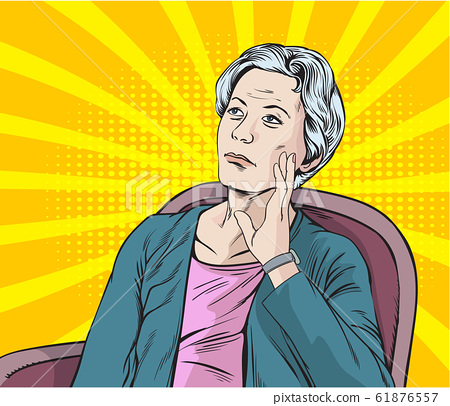 Forgotten old woman.Pop art retro vector illustration vintage kitsch drawing,Comic Book Work Style 61876557