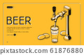 Beer tap isometric landing page, alcohol drink 61876880