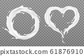 Milk splash frames round heart with white drops 61876910