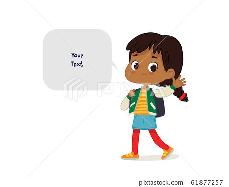 Vector illustration of the Latino Girl with the backpack goes to school. Preschool boy walks to the school. Dark Skin boy and speech bubble with place for text isolated on white background. 61877257