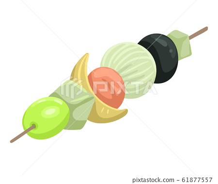 Snack canapes with skewers. Olives and vegetables. Vector illustration on white background. 61877557