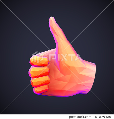 Concept of social network and media: low poly human hand with thumb up gesture. 61879480