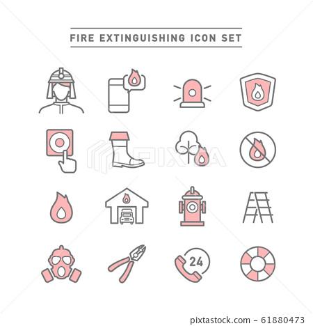 FIRE EXTINGUISHING ICON SET 61880473