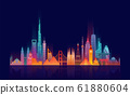 World skyline. Travel and tourism background. 61880604